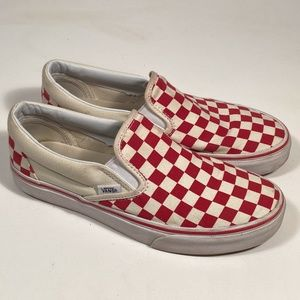 Vans Checkerboard Canvas Slip on Shoes Women 8.5